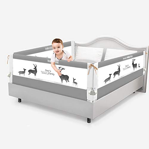(Baby Bed Rail Easy Fit Safety Rail Foldable Bed Guard Barrier Large Bed Baffle for Toddlers Kids, 3 Sides, 1.5m/1.8m, Gray (Size : 1.5m+2m+2m))