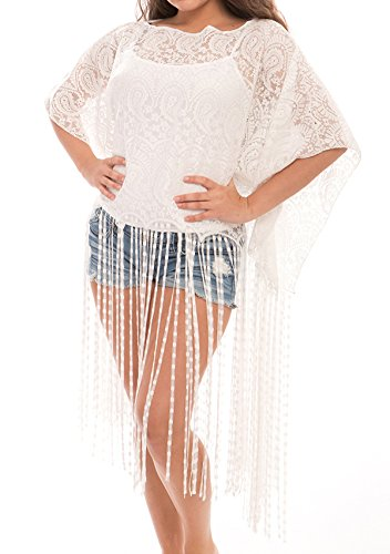 - Women's Fashion Swimwear Cover-Ups Top Dress Chiffon Kimono Cardigan with Fringes (298, Long Fringes White)