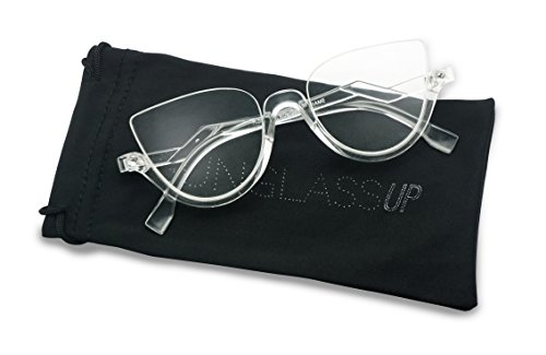 Vintage Half Frame Rhinestone Studded MOD CatEye Clear Lens Glasses (Transparent, - Glasses Rhinestone Frames