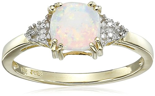 (10K Yellow Gold Created Opal Cushion with Diamond October Birthstone Ring, Size)