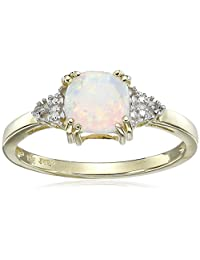 10k Yellow Gold, October BirthStone, Simulated Opal and Diamond Ring, Size 7