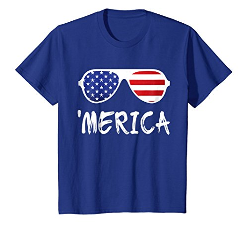 Price comparison product image Kids Merica Sunglasses T-Shirt Patriotic Fourth of July Gift 6 Royal Blue