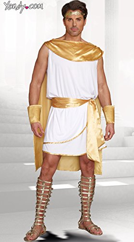 Dreamgirl Men's He's A God Costume, White, Large - Sexy Greek Halloween Costumes