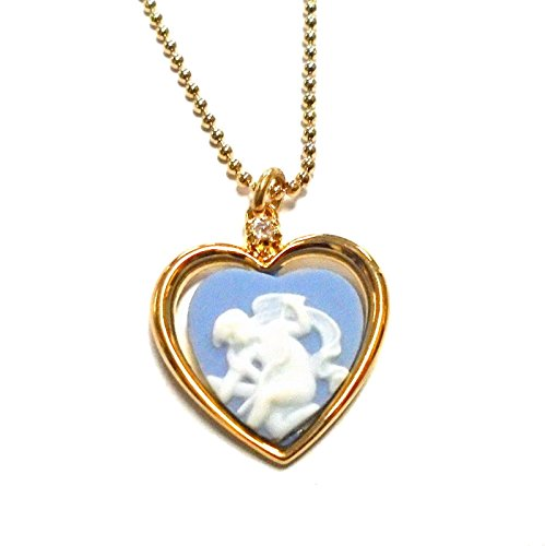 Wedgwood Authentic Cupid Stringing Bow Heart Necklace- Gold-Plate