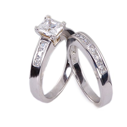 Prey Wedding Ring.Sunee Jewelry And Gift 3 25 Ct Princess Cut Wedding Bridal Engagement Ring Set 925 Sterling Silver Cubic Zirconia Cz Sz 3 12