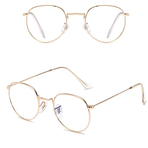 with Zhhlaixing sol Case Oversized Storage Round UV400 Sunglasses Metal Mujer Diseño Classic Retro Gafas Gold de q7nqRH1X