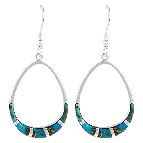 - 925 Sterling Silver Earrings Genuine Copper-Infused Matrix Turquoise Pear-Shape Drop Dangles