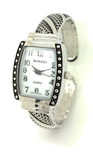 Ladies Square Antique Modern Metal Bangle Cuff Fashion Watch Pearl Dial Wincci (Antique Ladies Watch)