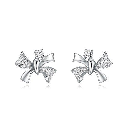 9ct 375Or blanc avec diamant ruban Nœud Boucles d'oreille à tige (0,1ct, G-H Couleur, Vs2-si1Clarté) Femme Bijoux Cadeau