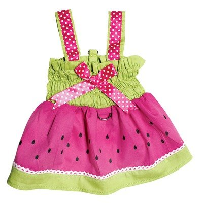 Juicy Watermelon Dog Sundress with Large D-ring for Easy Leash Attachment Sizes: X-Small, My Pet Supplies