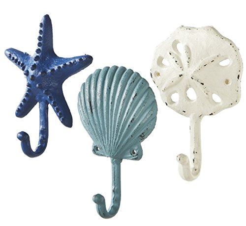 (Sea Treasures Wall Hooks - Set of 3 - Antique Weathered Hangers for Coats, Aprons, Hats, Towels, Pot Holders - Scallop, Sand Dollar, Sea Star / Starfish)