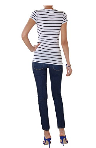 Humble Chic Women's V-Neck Striped Tee - White & Black - MEDIUM - Fitted Cotton Blend Short Sleeve T