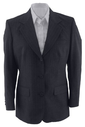 Ed Garments Women's Fully Lined Pinstripe Suit Coat, Navy, 24 Regular ()