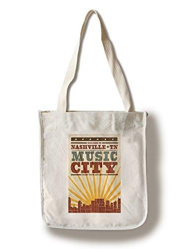 Lantern Press Nashville, Tennessee - Skyline and Sunburst Screenprint Style (100% Cotton Tote Bag - Reusable)