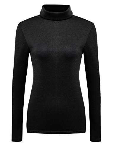 tweight Long Sleeve Rib Turtleneck Top Pullover Sweater Black S (Rib Turtleneck)