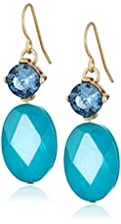 Kenneth Cole New York Blue Shell Faceted Bead Double Drop Earrings