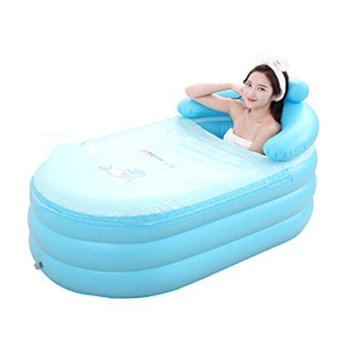 Ren Chang Jia Shi Pin Firm Freestanding Bathtubs Adult Folding Blue Inflatable Bathtub Bucket Household Bathtub Fill Children's Bathtub Plastic Bathtub (Color : Blue Foot Pump, Size : 1307766cm) by Ren Chang Jia Shi Pin Firm (Image #5)