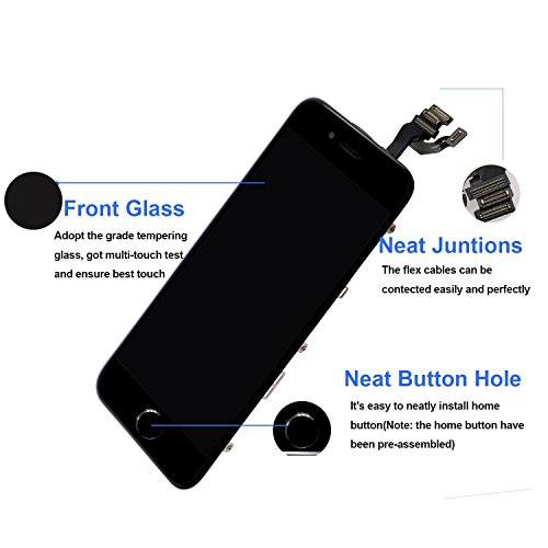 Nroech LCD Screen Replacement for iPhone 6 (Black) with Home Button, Full Assembly with Front Camera, Ear Speaker and Light/Proximity sensor, Repair Tools and Free Screen Protector Included. by Nroech (Image #1)
