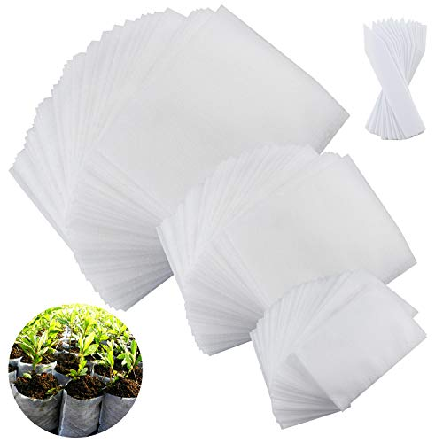 JPSOR 300pcs Biodegradable Non-woven Nursery Bags with 100pcs Plastic Plant Tags Plant Grow Bags Fabric Seedling Pots (3 Sizes) by JPSOR