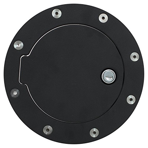 Bully BBS-1221CK Fuel Door - Billet Aluminum Fuel Filler Door with Lock, Black Gas Door for 1997-2003 Ford