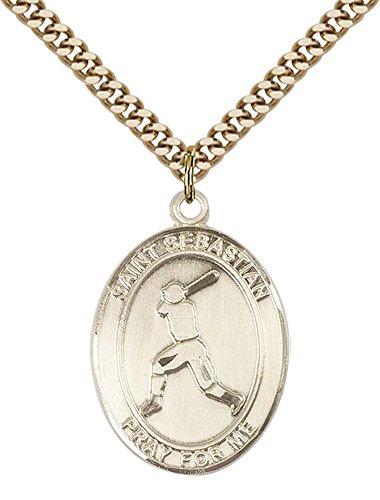 14kt Gold Filled St. Sebastian/Baseball Pendant with 24