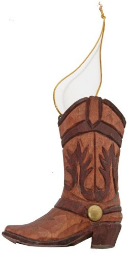 Cowboy Boot Christmas Ornament - Western Boot Ornament (Hand-carved of Wood)