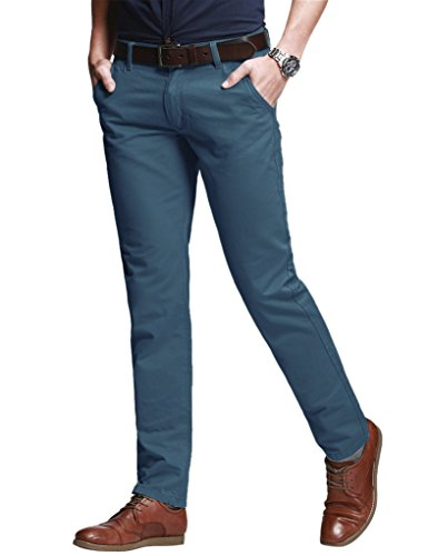 Match Men's Slim Tapered Stretchy Casual Pant (30W x 31L, 8060 Peacock Blue)