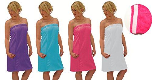 Blue Star Clothing Women's 3 Piece Bath Body Plush Towel Wrap Spa Set | Bath Body Towel Wrap with Adjustable Fastener, Hair Towel Twist, Loofah/Bath Body Sponge by Blue Star Clothing (Image #4)