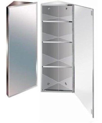 Zanex Bevelled Edge Stainless Steel Mirror Bathroom Corner Cabinet ...