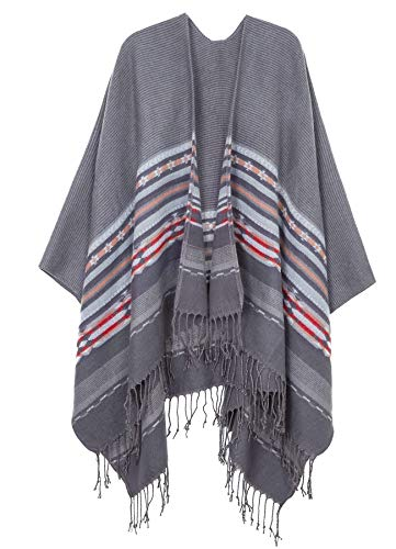 Womens Acrylic Pashmina Stripe Fashion Poncho Cardigan Grey
