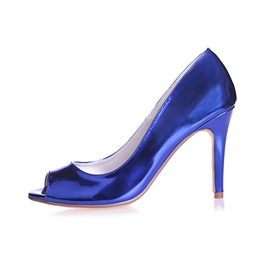 Leather Womens' Heel Peep Ellenhouse Patent EH040 Stiletto Shoes Toe Blue Pumps pEgg1w