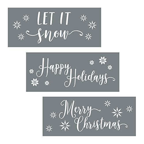 - I like that lamp Christmas Stencils - Pack of 3 Holiday Stencils for Creating Festive Christmas Decor - Merry Christmas Stencil, Let It Snow and Happy Holiday Stencil Set