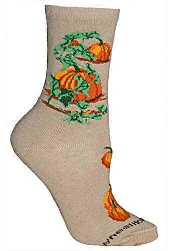 Pumpkin Tan Novelty Adult 9-11 Socks by Wheel House Designs USA Made SKU PH 1624 (Pumpkin Socks)