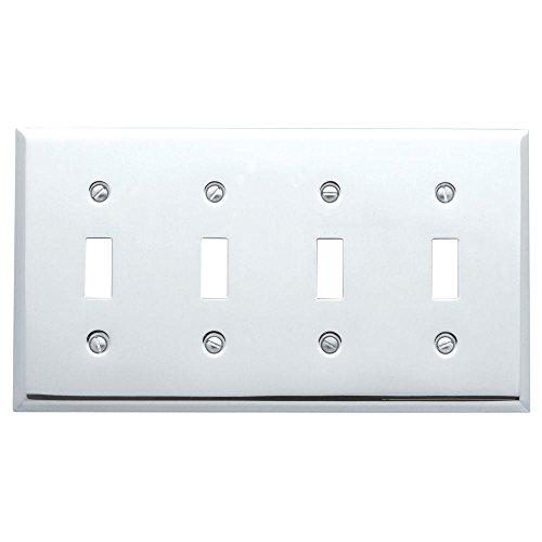 - Baldwin Beveled Edge 4 Toggle Wall Plate - Polished Chrome - 2PC