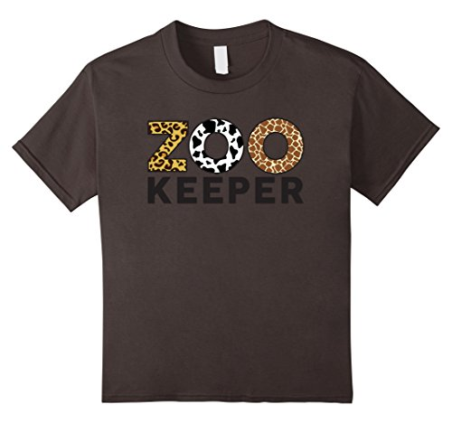 Zoo Print (Kids Zookeeper African Savanna Animal Print T-Shirt 8 Asphalt)