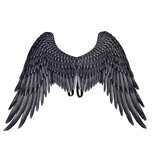 Amosfun Black Angel Wings Angel Costume Party Cosplay Prop for Men Women Adult -
