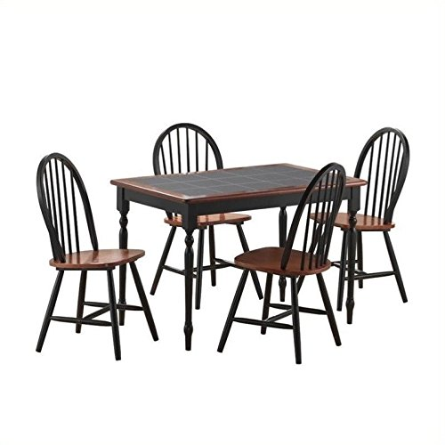 Tile Top Dinette (5-Pc Tile Top Dining Set in Black and Cherry Finish)