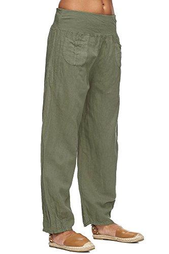 Donna Lt4 di panno Zarlena Armygrün Puro Pantaloni Lino 4vw5qga