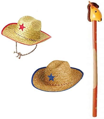 Novelty Treasures Costume Play Set Child Western Cowboy Hat and Inflatable Riding Stick Horse Beige -