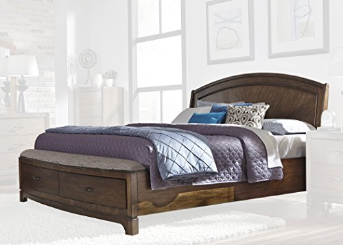 Liberty Furniture Avalon III King Panel Storage Bed (705-BR-KPBS), Pebble Brown
