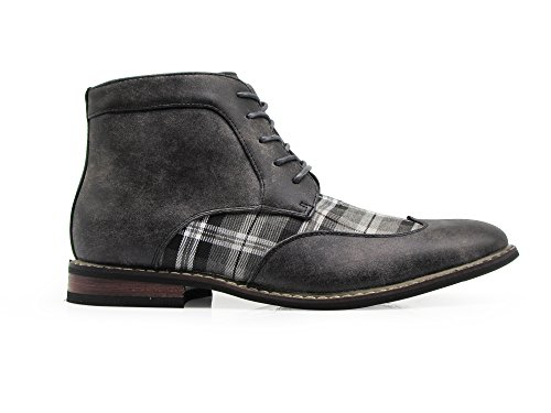 Titan04 Men Spectator Tweed Plaid Two Tone Chukka Ankle Wingtips Oxfords Dress Boots Perforated Lace Up Dress Shoes Gray wBlnJ