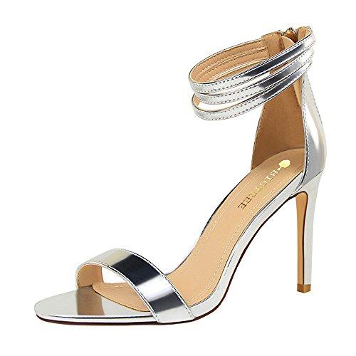 z&dw Moda simple talón de tacón alto sexy con sandalias Plata