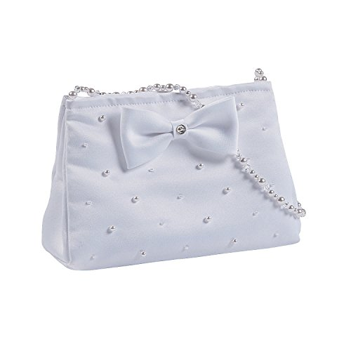 Fun Express White Purse with Pearl Handle (with Pearl Detailing and Bow)