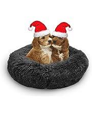 Dog & Cat Bed Long Plush Comfy Calming- Deep Sleeping Luxury Shag Fuax Fur Donut Cuddler for Dog Cat Self-Warming Cushion Bed(23''D×8''H)