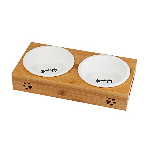 MINOFOX PET Pet Dog Cat Food Water Feeder with One Bowl Double Bowls Fixed Wooden Table (Ceramic, Two Bowls)