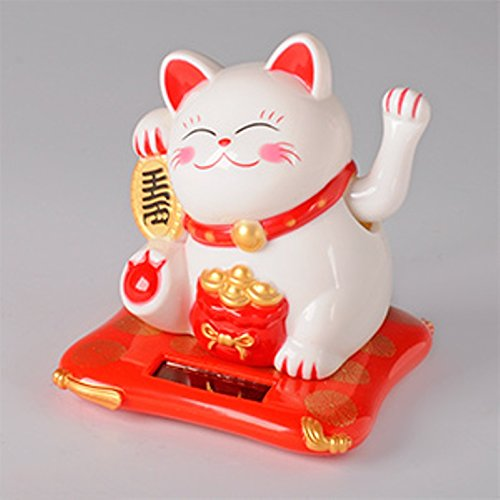 Beautiful White Solar Powered Maneki Neko Beckoning Lucky Money Cat 79123