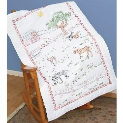 - Jack Dempsey Stamped White Lap Quilt Top, 40-Inch by 60-Inch, Field of Horses