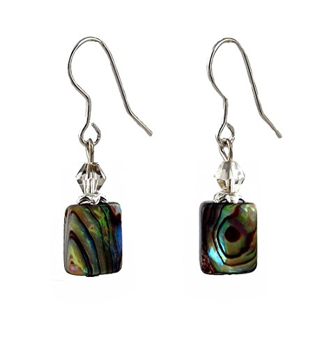 Abalone Shell Rectangle Earrings (E555)