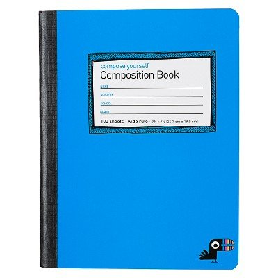 Yoobi153; Composition Book Wide Ruled - Blue, 9.75'' x 7.5'', 100 Sheets Blue