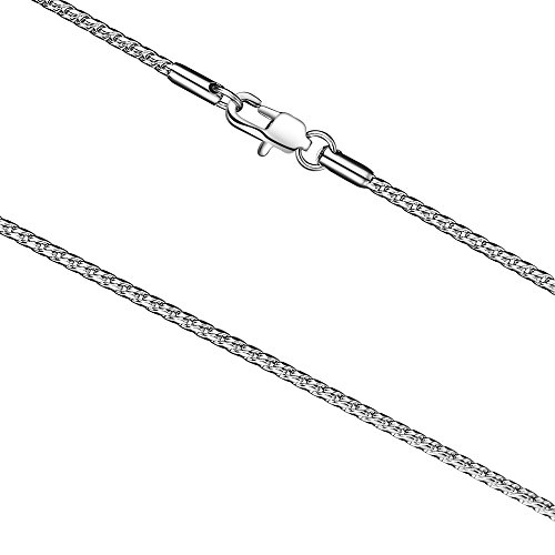 FOSIR 2mm Titanium Steel Unique Silver Snake Chain Necklace for Men Women 18-30 Inch